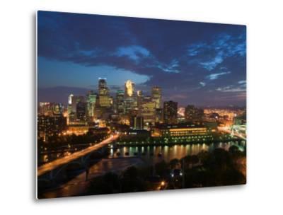 Evening Skyline Scene from St. Anthony Main, Minneapolis, Minnesota-Walter Bibikow-Metal Print