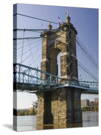 Roebling Suspension Bridge Over the Ohio River, Cincinnati, Ohio-Walter Bibikow-Stretched Canvas Print