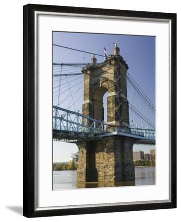 Roebling Suspension Bridge Over the Ohio River, Cincinnati, Ohio-Walter Bibikow-Framed Photographic Print