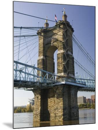 Roebling Suspension Bridge Over the Ohio River, Cincinnati, Ohio-Walter Bibikow-Mounted Photographic Print