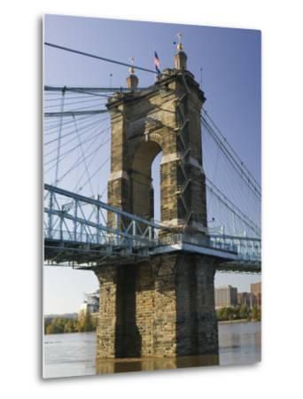 Roebling Suspension Bridge Over the Ohio River, Cincinnati, Ohio-Walter Bibikow-Metal Print