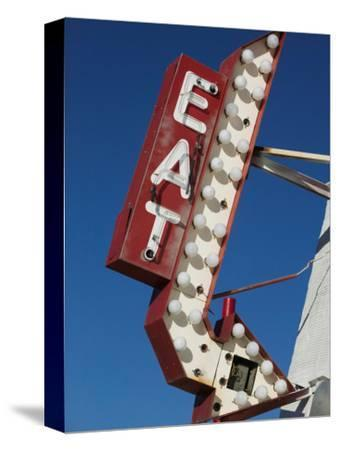 Eat Diner Sign along West 6th Avenue, San Jacinto District, Amarillo, Texas-Walter Bibikow-Stretched Canvas Print