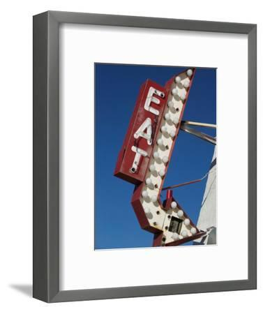 Eat Diner Sign along West 6th Avenue, San Jacinto District, Amarillo, Texas-Walter Bibikow-Framed Photographic Print