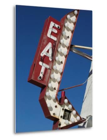 Eat Diner Sign along West 6th Avenue, San Jacinto District, Amarillo, Texas-Walter Bibikow-Metal Print
