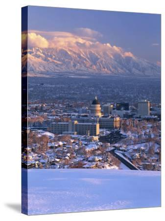 Utah State Capitol with the Wasatch Mountains, Salt Lake City, Utah-Scott T^ Smith-Stretched Canvas Print