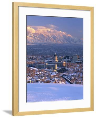Utah State Capitol with the Wasatch Mountains, Salt Lake City, Utah-Scott T^ Smith-Framed Photographic Print