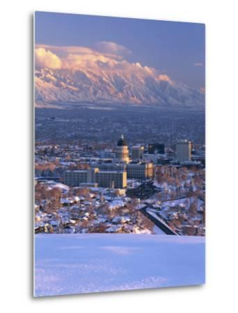 Utah State Capitol with the Wasatch Mountains, Salt Lake City, Utah-Scott T^ Smith-Metal Print