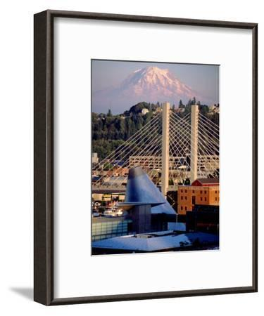 Downtown and Mt. Rainier, Tacoma, Washington-Charles Crust-Framed Photographic Print