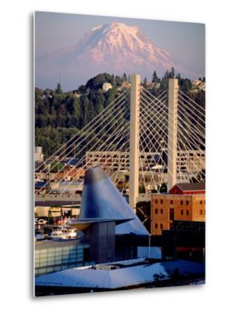 Downtown and Mt. Rainier, Tacoma, Washington-Charles Crust-Metal Print