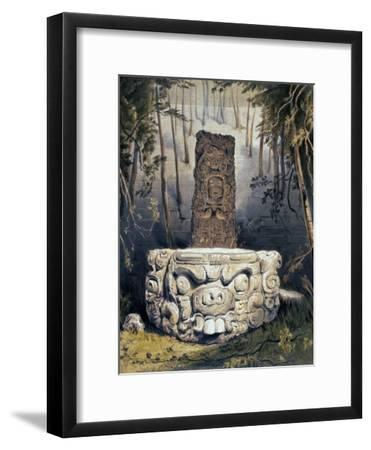 Idol and Altar at Copan-Frederick Catherwood-Framed Giclee Print
