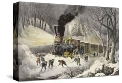 American Railroad Scene in Snow-Currier & Ives-Stretched Canvas Print