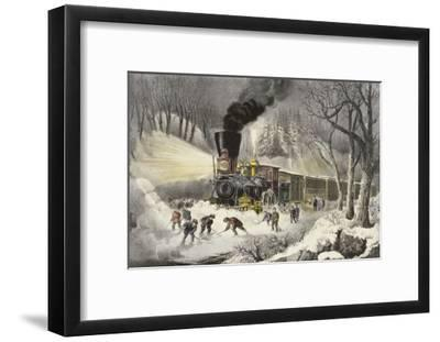 American Railroad Scene in Snow-Currier & Ives-Framed Giclee Print