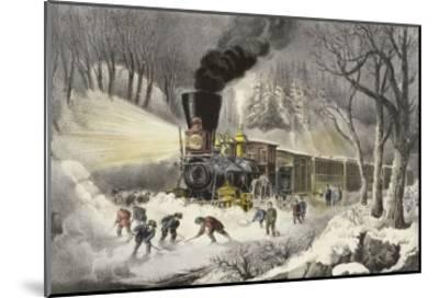 American Railroad Scene in Snow-Currier & Ives-Mounted Giclee Print