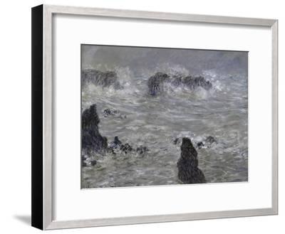 Tempete, Cotes de Belle, Ilestorm-Claude Monet-Framed Giclee Print