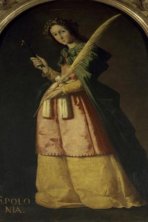 Saint Apollonia, 17th century-Francisco de Zurbar?n-Stretched Canvas Print