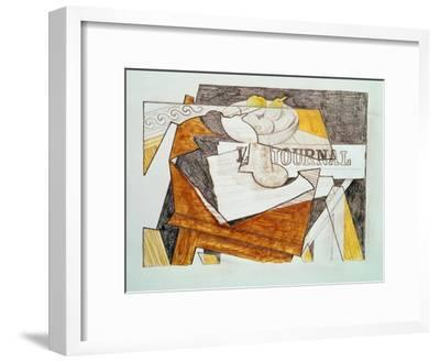 Still Life with a Newspaper and a Wooden Table, c.1918-Juan Gris-Framed Giclee Print