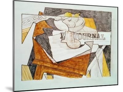 Still Life with a Newspaper and a Wooden Table, c.1918-Juan Gris-Mounted Giclee Print