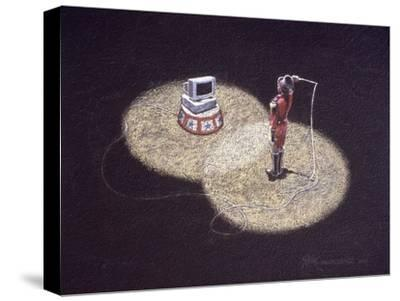 Lion Tamer Holding a Whip in Front of a Computer--Stretched Canvas Print