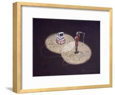 Lion Tamer Holding a Whip in Front of a Computer--Framed Giclee Print