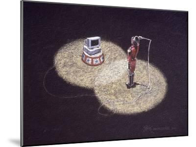 Lion Tamer Holding a Whip in Front of a Computer--Mounted Giclee Print