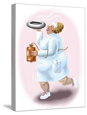 The Bedpan Nurse-Linda Braucht-Stretched Canvas Print