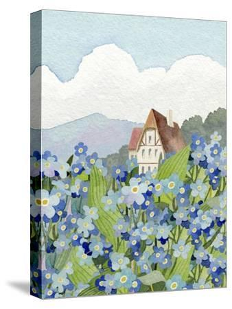 Forget-Me-Not Cottage-Linda Braucht-Stretched Canvas Print