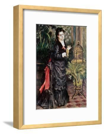 Woman with Bird-Pierre-Auguste Renoir-Framed Giclee Print