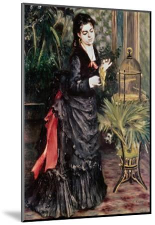 Woman with Bird-Pierre-Auguste Renoir-Mounted Giclee Print