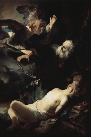 Abraham's Sacrifice-Rembrandt van Rijn-Stretched Canvas Print