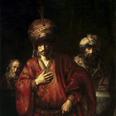 David and Uriah-Rembrandt van Rijn-Stretched Canvas Print