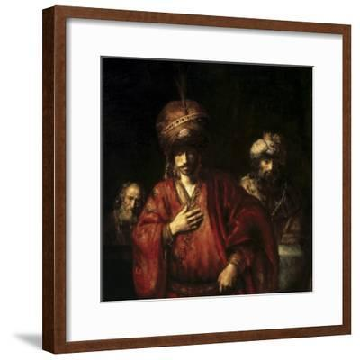 David and Uriah-Rembrandt van Rijn-Framed Giclee Print