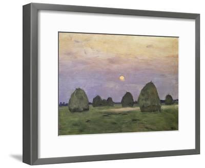 Bundles of Hay at Twilight-Isaak Ilyich Levitan-Framed Giclee Print