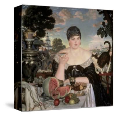 Merchant's Wife Having Tea-B^ M^ Kustodiev-Stretched Canvas Print