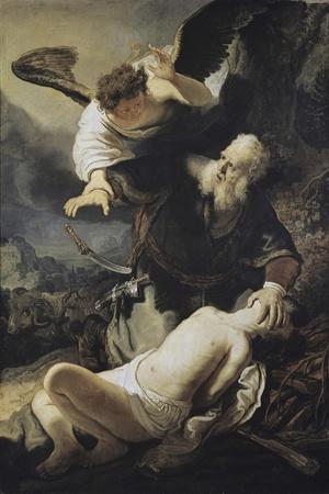 The Sacrifice of Isaac-Rembrandt van Rijn-Stretched Canvas Print