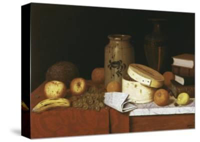 Eleame Figs and Newspaper-William Michael Harnett-Stretched Canvas Print