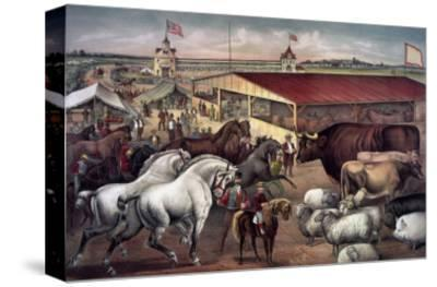Sights at the Fair Ground-Currier & Ives-Stretched Canvas Print