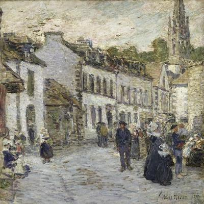 Street in Pont Aven in Evening-Childe Hassam-Stretched Canvas Print