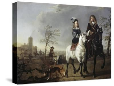Lady and Gentleman on Horseback-Aelbert Cuyp-Stretched Canvas Print