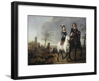Lady and Gentleman on Horseback-Aelbert Cuyp-Framed Giclee Print