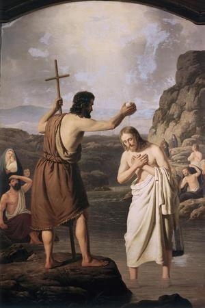 Baptism of Jesus-Johan Peter Raadsig-Stretched Canvas Print