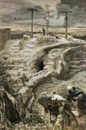 Jesus Alone on the Cross-James Tissot-Stretched Canvas Print