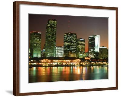 City Skyline at Night, Miami, FL-Jeff Greenberg-Framed Photographic Print