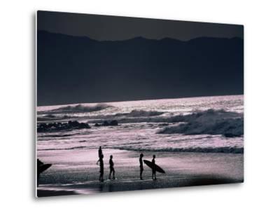 Surfers at Sunset, Ehukai, Oahu, Hawaii-Bill Romerhaus-Metal Print