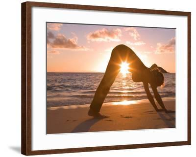 Woman Stretching on Beach-Tomas del Amo-Framed Photographic Print