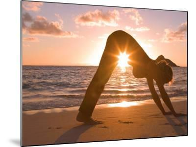 Woman Stretching on Beach-Tomas del Amo-Mounted Photographic Print