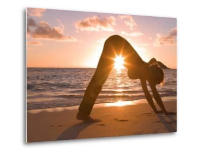 Woman Stretching on Beach-Tomas del Amo-Metal Print