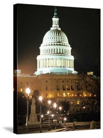 Night Shot of the United States Capitol Building and Capital Hill, USA-David Clapp-Stretched Canvas Print