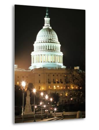 Night Shot of the United States Capitol Building and Capital Hill, USA-David Clapp-Metal Print