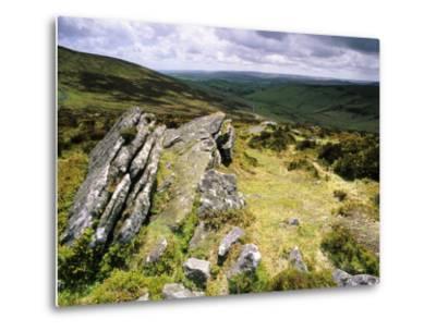 Hookney Tor in Stormy Summer Weather, Devon, UK-David Clapp-Metal Print