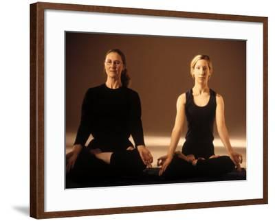 Two Women in Traditional Yoga Position-Jim McGuire-Framed Photographic Print